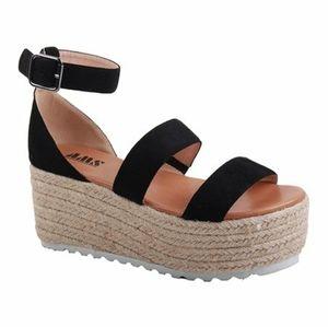 Emma Black Ankle Strap Espadrille Sandals Women